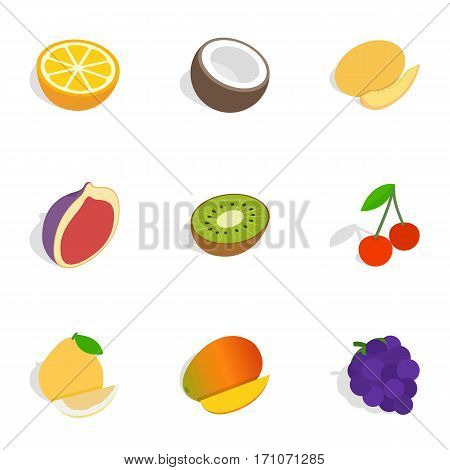 Different fruits and berries icons set. Isometric 3d illustration of 9 different fruits and berries vector icons for web
