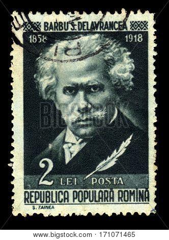 ROMANIA - CIRCA 1958: A stamp printed in Romania shows Barbu St. Delavrancea, romanian writer and poet, circa 1958
