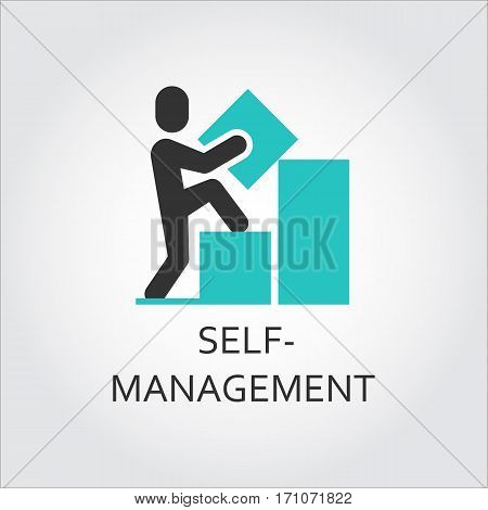 Vector icon of man builds a graph, self-management concept. Simple label. Logo drawn in flat style. Black and green shape pictograph for your design needs. Contour silhouette