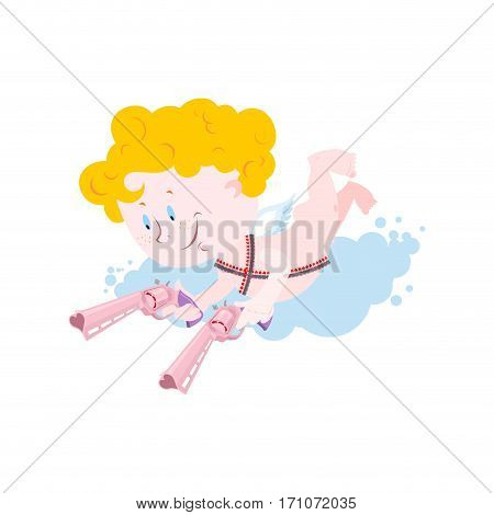 Cupid And Weapons. Cute Little Angel And Love Gun. Illustration For Valentines Day
