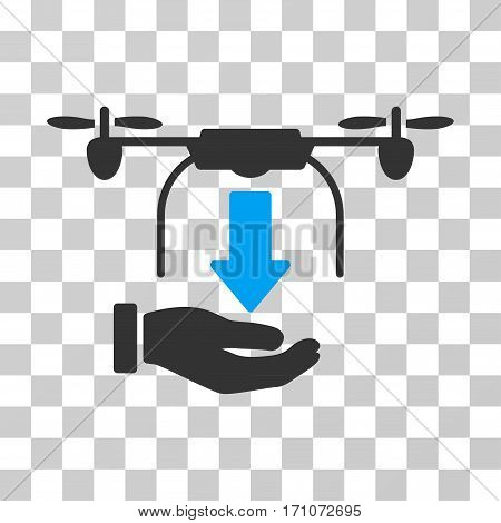 Unload Drone Hand icon. Vector illustration style is flat iconic bicolor symbol blue and gray colors transparent background. Designed for web and software interfaces.