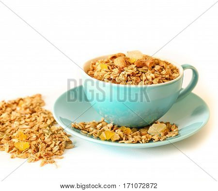 Hawaiian granola - flakes of buckwheat, barley, rye and wheat, oatmeal, walnuts, pumpkin, sunflower sesame seeds, flax, cinnamon, ginger, sea salt, grape oil, syrup corn, sun-dried lemon, pineapple.
