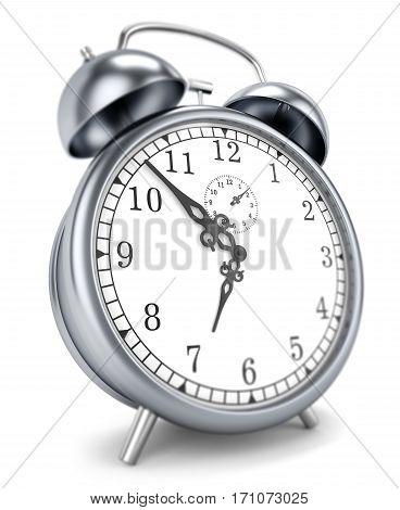 alarm clock 3d time, morning, antiquarian, white