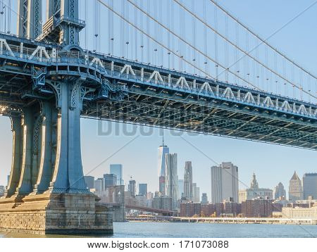 Manhattan bridge  Brooklyn bridge New York Manhattan