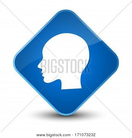 Head Woman Face Icon Special Blue Diamond Button