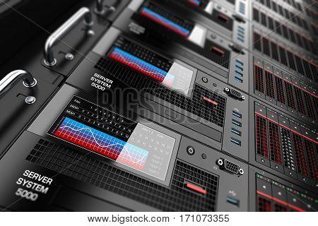 Server datacenter panels 3d set safety neon