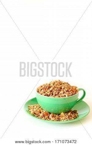 East granola - flakes of buckwheat, barley, rye and wheat, oatmeal, walnuts, pumpkin, sunflower sesame seeds, flax, cinnamon, sea salt, grape oil, corn syrup, almonds, apricots, melon, raisins.