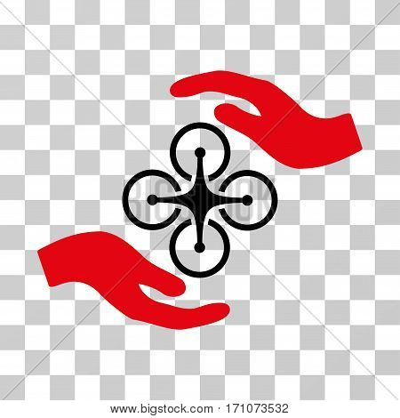 Air Copter Care Hands icon. Vector illustration style is flat iconic bicolor symbol intensive red and black colors transparent background. Designed for web and software interfaces.
