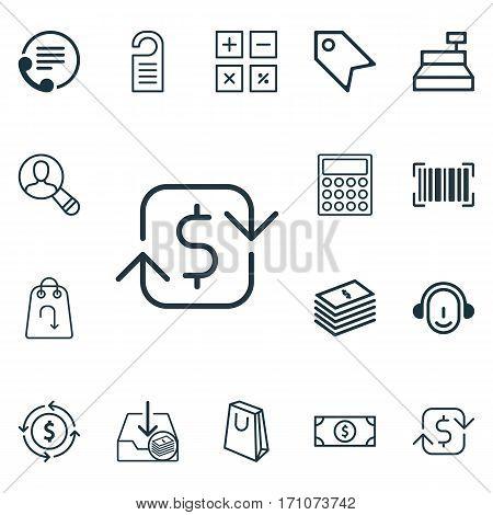 Set Of 16 Commerce Icons. Includes Handbag, Till, Buck Symbols. Beautiful Design Elements.