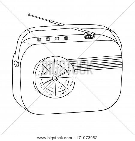 Radio retro portable receiver. Vintage recorder. Isolated vector object.