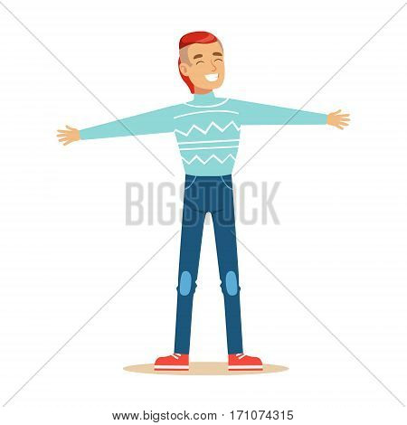 Man In Blue Sweater Overwhelmed With Happiness And Joyfully Ecstatic, Happy Smiling Cartoon Character. Person Excited And Blissful With Positive Emotions Vector Illustration.