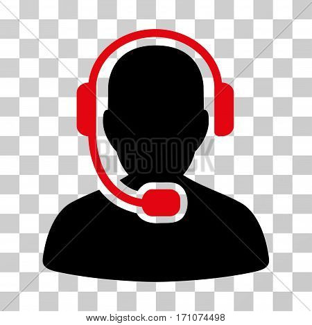 Call Center Operator icon. Vector illustration style is flat iconic bicolor symbol intensive red and black colors transparent background. Designed for web and software interfaces.