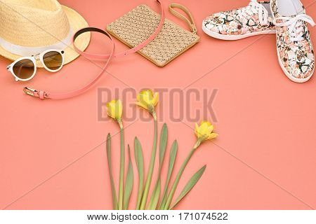 Summer Hipster style.Design Spring Fashion girl clothes setaccessories.Trendy sunglasses floral hipster gumshoes. Fashion Handbag clutch hat spring flower.Summer Urban woman look.Perspective view