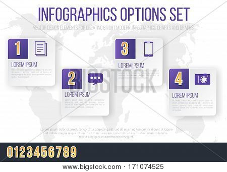 Bright Infographics Vector Violet Colored Numbers Set for Options and Feautures List. Template for brochure, business charts, web design and posters