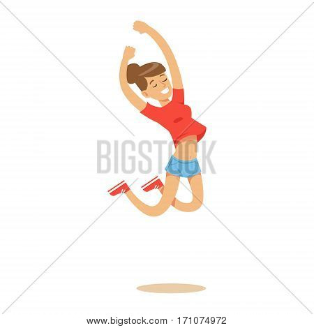 Girl In Shorts And T-shirt Overwhelmed With Happiness And Joyfully Ecstatic, Happy Smiling Cartoon Character. Person Excited And Blissful With Positive Emotions Vector Illustration.