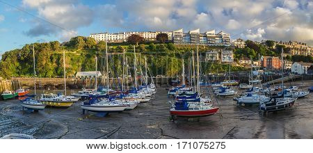 Many boats and yachts in the harbor of Ilfracombe. Low tide. Evening. North Devon. UK