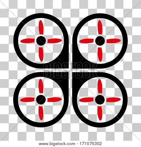 Copter icon. Vector illustration style is flat iconic bicolor symbol intensive red and black colors transparent background. Designed for web and software interfaces.