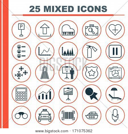 Set Of 25 Universal Editable Icons. Can Be Used For Web, Mobile And App Design. Includes Elements Such As Roadsign, Octave, Railway And More.