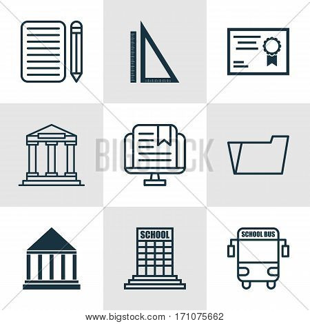 Set Of 9 School Icons. Includes E-Study, College, Document Case And Other Symbols. Beautiful Design Elements.
