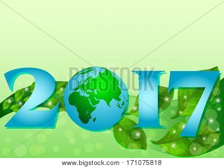 2017 with Earth globe and plume of green leaves on green background for Earth day or hour also Wildlife and Environment days. Vector illustration
