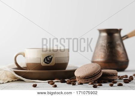 Morning Breakfast With Coffee And Macaroons