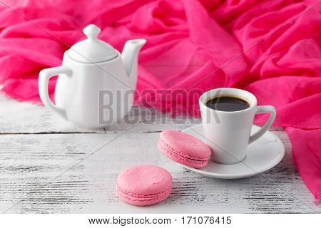 Womans Breakfast With Coffee Cup And Pink Macaroons