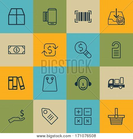 Set Of 16 E-Commerce Icons. Includes Ticket, Calculation Tool, Identification Code And Other Symbols. Beautiful Design Elements.