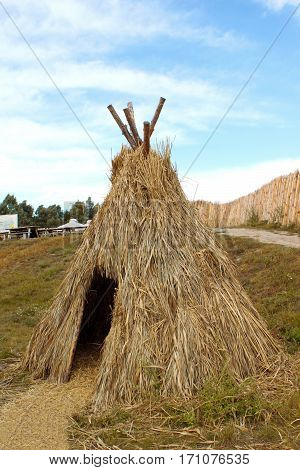 Nice view of straw tent as ansient house of people