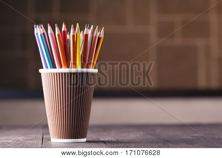 Artistic Concept, Many Pencil In Mug On Wooden Table