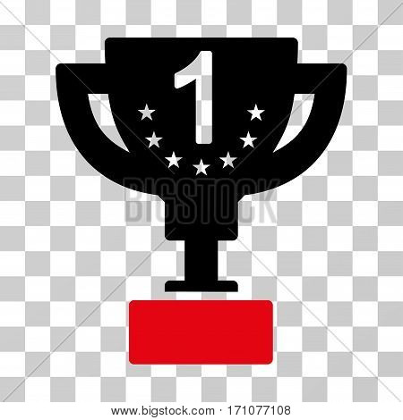 First Prize Cup icon. Vector illustration style is flat iconic bicolor symbol intensive red and black colors transparent background. Designed for web and software interfaces.