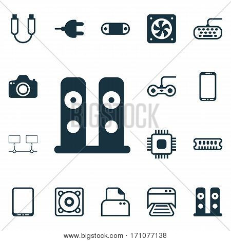 Set Of 16 Computer Hardware Icons. Includes Connector, Computer Keypad, Music And Other Symbols. Beautiful Design Elements.