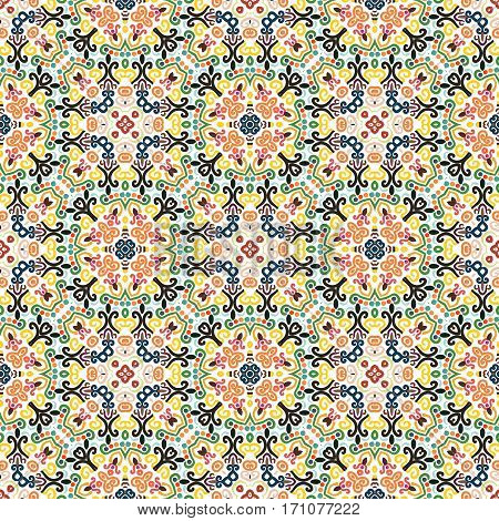 Floral Seamless Pattern from Colorful Weave Squares. Stylized flower background. Flourish ornament vector. Intricate luxury decoration. Furniture fabric print, wallpaper. Interior design element.