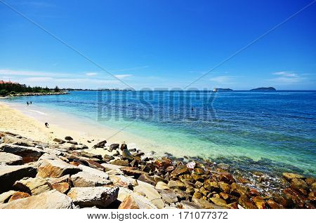 Scenery During Beautiful Sunny Day At The Beach In Kota Kinabalu, Sabah Borneo, Malaysia.
