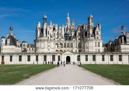 CHAMBORD FRANCE - MAY 07 2015: The royal Chateau de Chambord at Loir-et-Cher France is one of the most recognizable castles in the world because of its very distinctive French Renaissance architecture