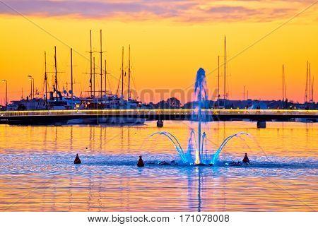 Sea Fountain In Zadar Sunset View