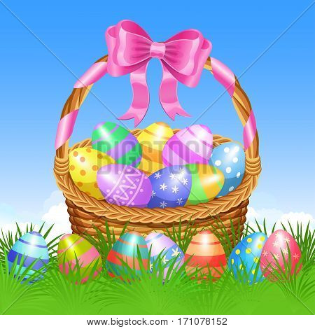 Easter basket and colorful Easter eggs in green grass for Easter holidays design. Easter vector background