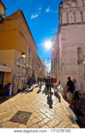Tourist Rush On Main Street Of Zadar
