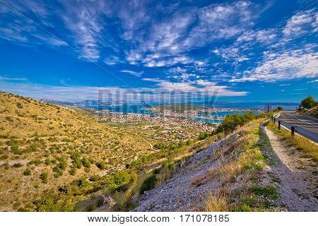 Aerial Panorama Of Trogir And Kastela Bay