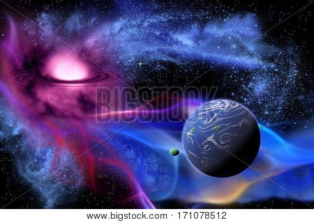 Exoplanet 3d illustration - An exoplanet or extrasolar is a planet that orbits a sun outside the solar system.