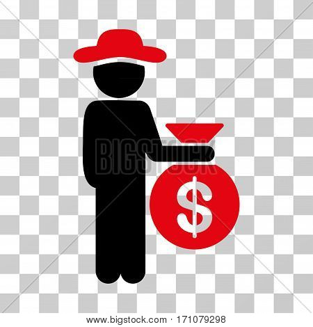 Gentleman Investor icon. Vector illustration style is flat iconic bicolor symbol intensive red and black colors transparent background. Designed for web and software interfaces.