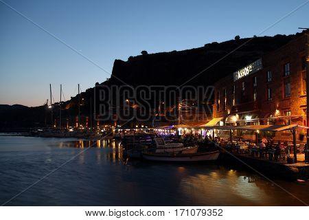 Assos, Turkey - July 08, 2015: Assos Ancient Harbor in Behram, Canakkale, Turkey