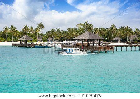 Noonu Attol Maldives - December 07 2016: Luxury hotel in Iru Fushi island Maldives December 07 2016