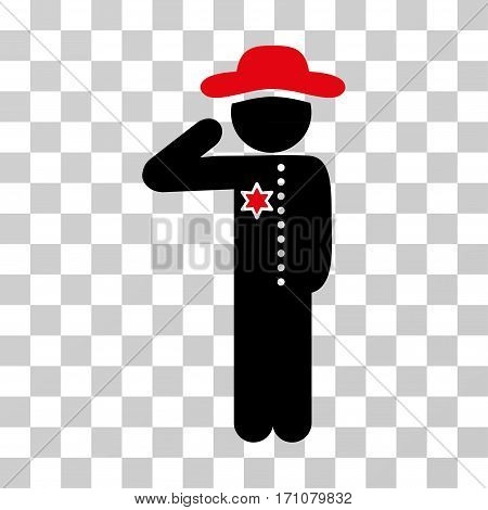 Gentleman Officer icon. Vector illustration style is flat iconic bicolor symbol intensive red and black colors transparent background. Designed for web and software interfaces.