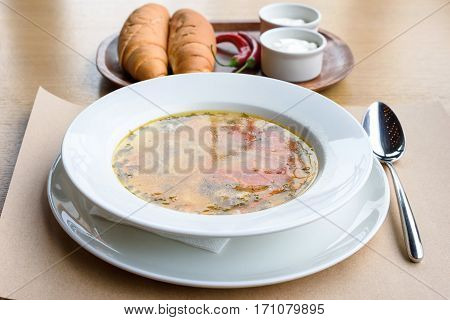 Zama traditional moldovan chicken soup with noodles and vegetables in white bowl, bread, sour cream and red pepper