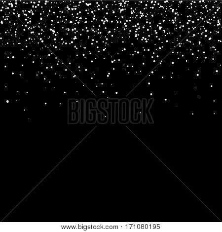 Starfield glowing stars on black sky vector background.