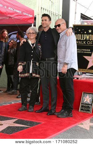 LOS ANGELES - FEB 10:  Mom, Adam Levine, Dad at the Adam Levine Hollywood Walk of Fame Star Ceremony at Musicians Institute on February 10, 2017 in Los Angeles, CA