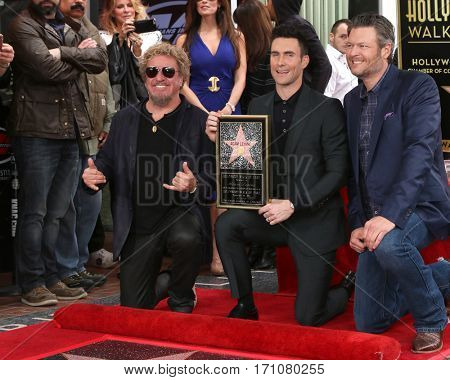 LOS ANGELES - FEB 10:  Sammy Hagger, Adam Levine, Blake Shelton at the Adam Levine Hollywood Walk of Fame Star Ceremony at Musicians Institute on February 10, 2017 in Los Angeles, CA