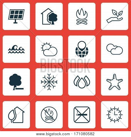 Set Of 16 Ecology Icons. Includes Save World, Cloud Cumulus, Bonfire And Other Symbols. Beautiful Design Elements.