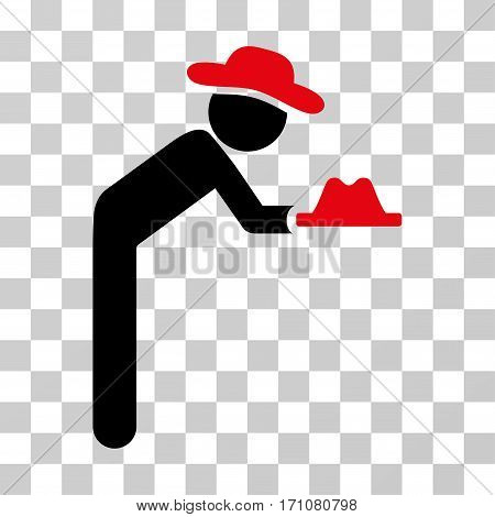 Gentleman Servant icon. Vector illustration style is flat iconic bicolor symbol intensive red and black colors transparent background. Designed for web and software interfaces.