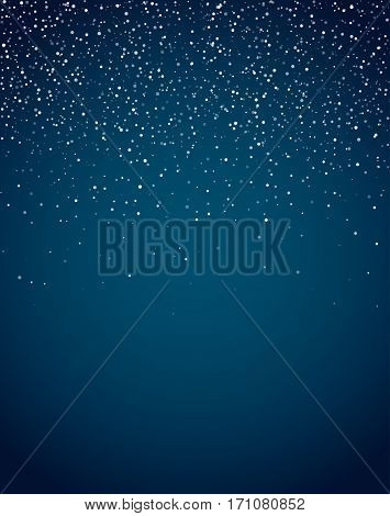 Snow blue vetical background for christmas, new year and winter card template with abstract confetti stars background.